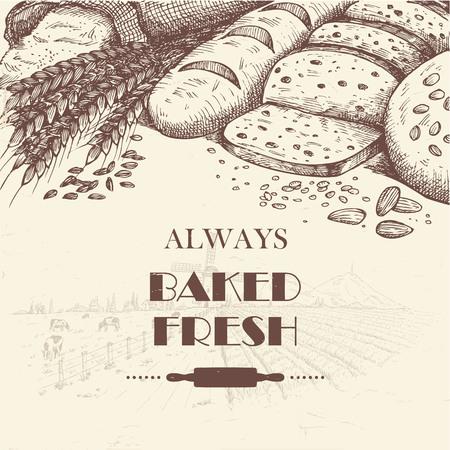 pan frances: Dibujado a mano de panes con paisaje de la granja como fondo
