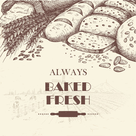 Hand drawn of breads with farm landscape as a background