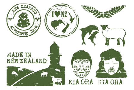 Illustration of New Zealand icons grunge style, vector Stock Illustratie