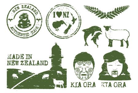 zealand: Illustration of New Zealand icons grunge style, vector Illustration