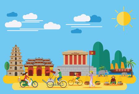 turismo: Diseño plano, puntos de referencia vietnamitas e iconos como Mausoleo de Ho Chi Mihn, Celestial Señora Pagoda, Ciudad Imperial y estilo de vida del pueblo vietnamita Vectores