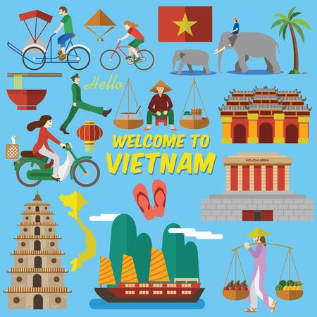 플랫 디자인, 같은 호치민 Mihn 묘소, 하늘에 계신 레이디 탑, 제국 도시 베트남 사람들의 라이프 스타일과 같은 베트남어 랜드 마크와 아이콘