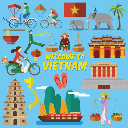 landmarks: Flat design,Vietnamese landmarks and Icons such as Ho Chi Mihn Mausoleum, Heavenly Lady Pagoda, Imperial City and lifestyle of Vietnamese people