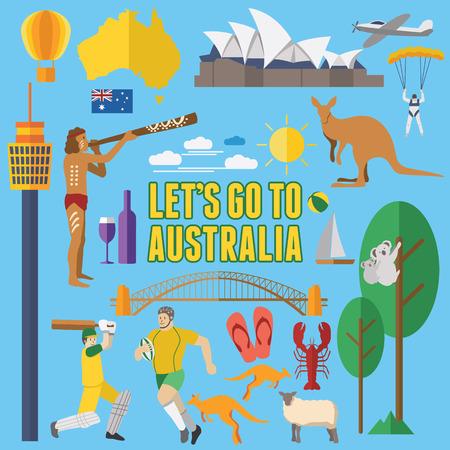 aborigen: Diseño plano Iconos de Australia