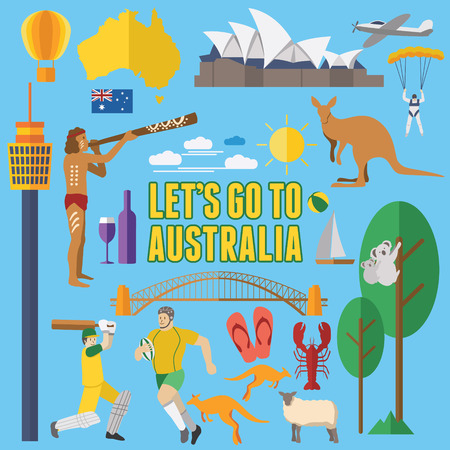 Flaches Design Australien Icons Vektorgrafik