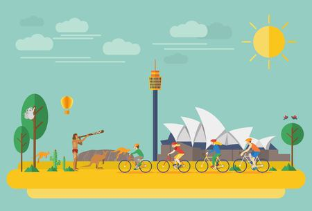 Happy family riding bicycles in Australia. Flat Illustration, all objects are grouped. Vettoriali
