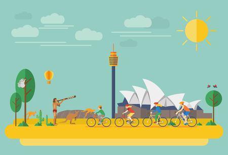medio ambiente: La familia feliz andar en bicicleta en Australia. Ilustración plana, todos los objetos se agrupan.