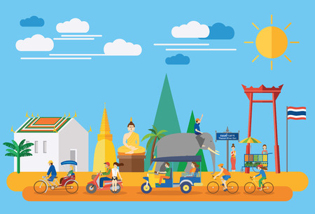 Flat design, Thai icons and landmarks