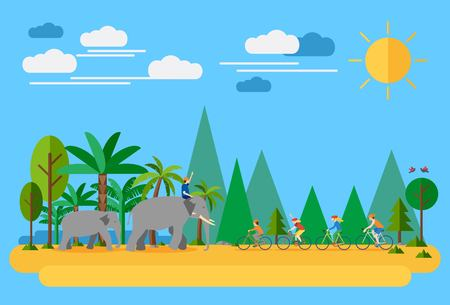 thailand: Happy family biking in Thailand. Flat design, all objects are grouped.
