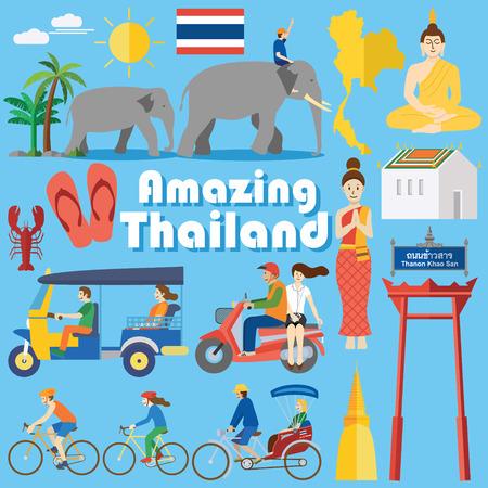 cab: Dise�o plano, los iconos y los puntos de referencia de Tailandia Vectores