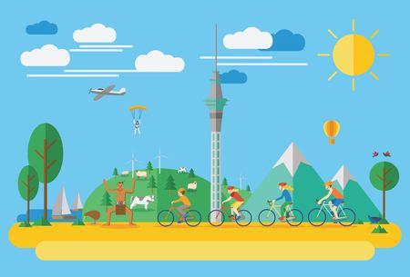 Ciclismo Familia feliz en Nueva Zelanda. Ilustración plana, todos los objetos se agrupan