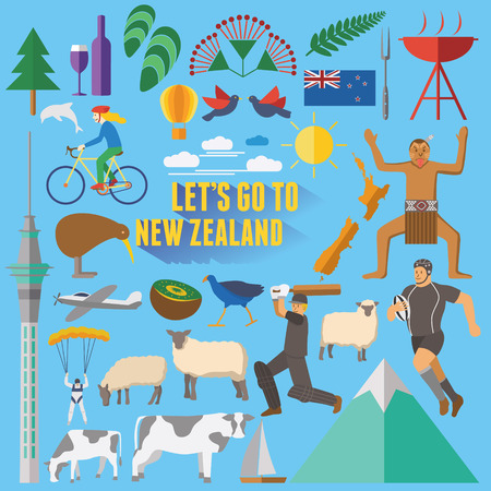 new zealand: Flat design New Zealand icons