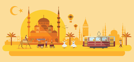 Illustration of flat design with Turkey landmarks and icons