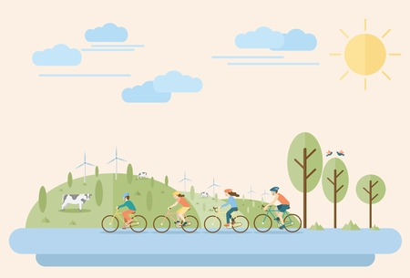 Happy family riding bicycles in countryside. Flat Illustration, all objects are grouped.