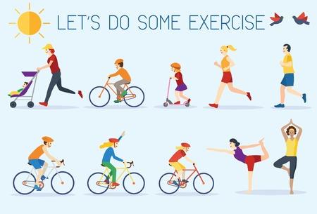 ejercicio: Diseño plano, personas que hacen ejercicio al aire libre Vectores