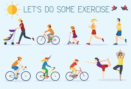 Flat design, people exercising outdoors Stock Illustratie