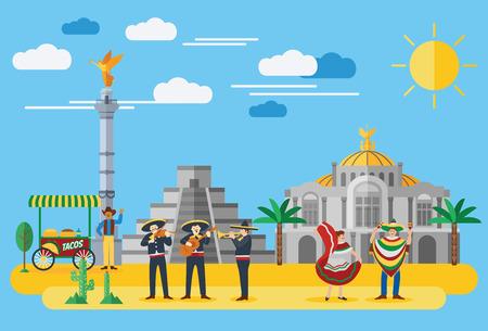 Platte ontwerp, illustratie van de Mexicaanse pictogrammen en bezienswaardigheden