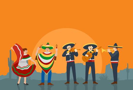 traje mexicano: músicos y bailarina mexicana Vectores