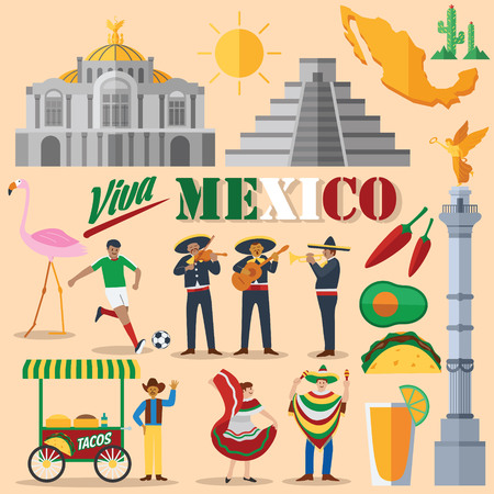 Flat design, Mexico icons and landmarks