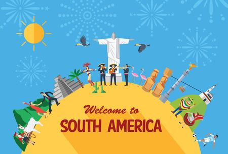 south  america: Concepto del recorrido del diseño plano, los iconos y los puntos de referencia de América del Sur.