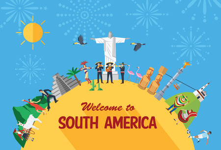 Flaches Design Reise-Konzept, Südamerika Symbole und Wahrzeichen. Vektorgrafik
