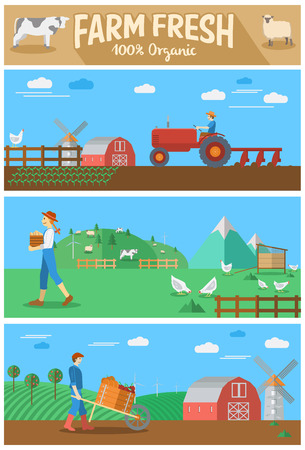 range fruit: Set of flat design agriculture banner with farmer plowing field, free range eggs and farmer harvests fruits. Illustration