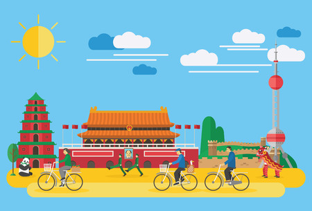 muralla china: diseño plano, la ilustración de los símbolos y los iconos de China Vectores