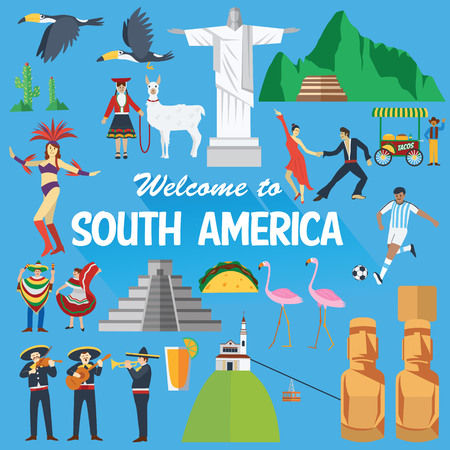 Flat design, Illustration of South America landmarks and icons Stock Illustratie