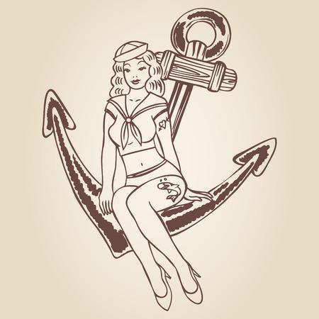 Vintage pinup sailor girl sitting on an anchor