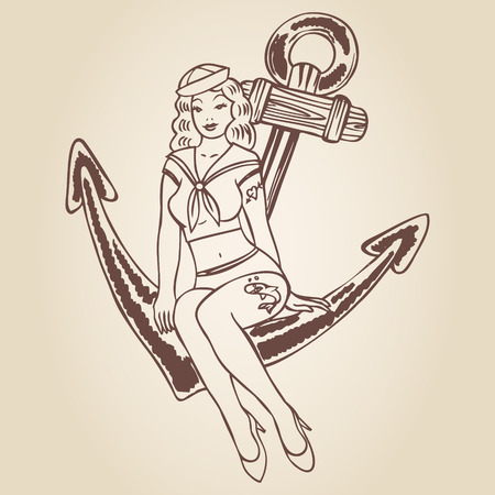 sexy tattoo: Vintage pinup sailor girl sitting on an anchor