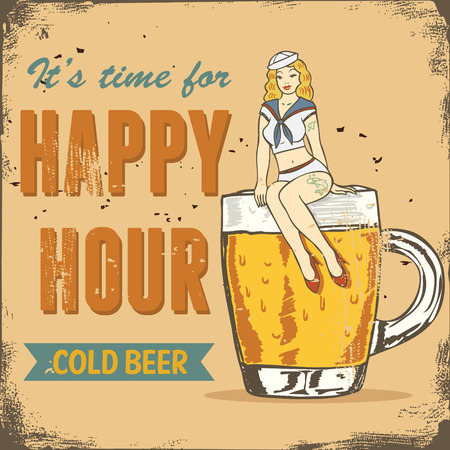 sailor girl: Happy hour sign, sailor girl sitting on a beer mug