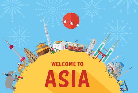 Płaski projekt, ilustracja zabytków i ikon w Azji Ilustracje wektorowe