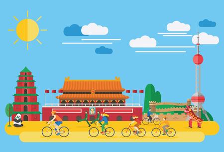 muralla china: diseño plano, la familia feliz en bicicleta en China