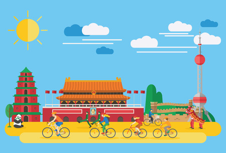 chinese pagoda: Flat design, Happy family biking in China
