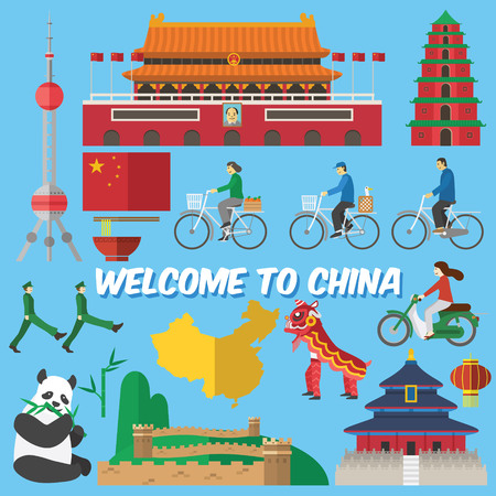 chinese flag: Flat design, Illustration of Chinas landmarks and icons Illustration