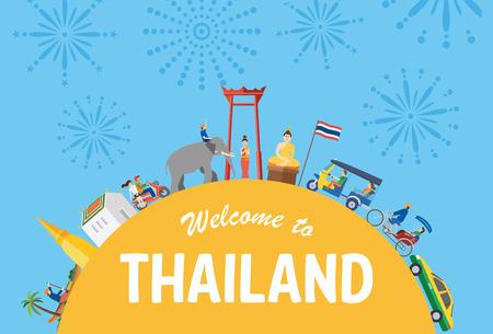 Illustration of Thailand icons and landmarks