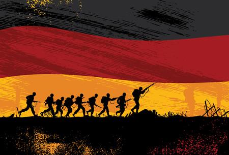 wojenne: ilustrowane wojsko z bronią w tle Ilustracja