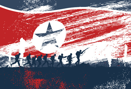 weapons: Silhouette of soldiers fighting at war with North Korea flag as a background