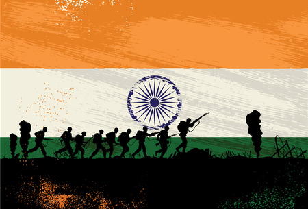 Silhouette of soldiers fighting at war with India flag as a background Çizim
