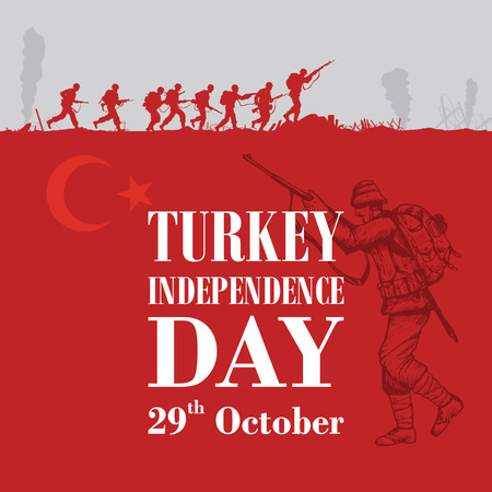 Silhouette of soldiers fighting at war with text Turkey independence day Vectores