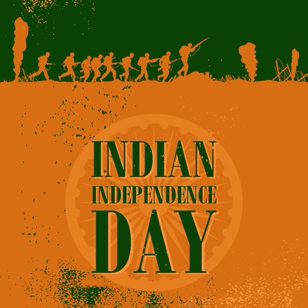 Silhouette of soldiers fighting at war with text Indian independence day 矢量图像