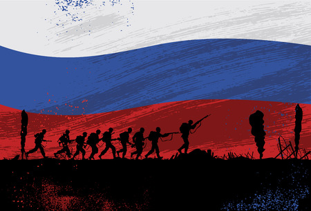 troop: Silhouette of soldiers fighting at war with Russian Flag as a background