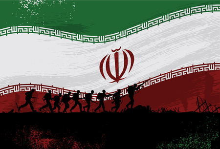 Silhouette of soldiers fighting at war with flying flag of Iran as a background Illustration