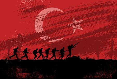 peleando: Silueta de soldados luchando en la guerra con la bandera de Turquía como un fondo