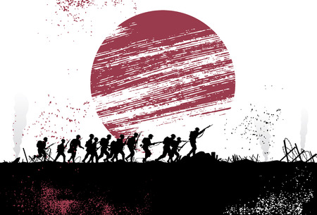 battlefield: Silhouette group of soldiers in battlefield with Japanese flag as a background. All objects are grouped. Illustration