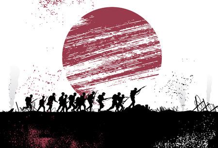 soldado: Silueta grupo de soldados en el campo de batalla con bandera japonesa como fondo. Todos los objetos se agrupan.
