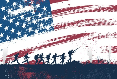 black american: Silhouette of soldiers fighting at war with American flag as a background