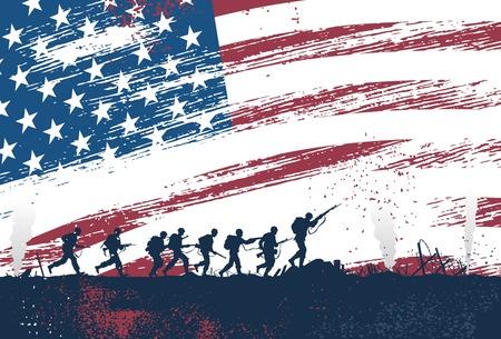 soldado: Silueta de soldados luchando en la guerra con la bandera americana como fondo