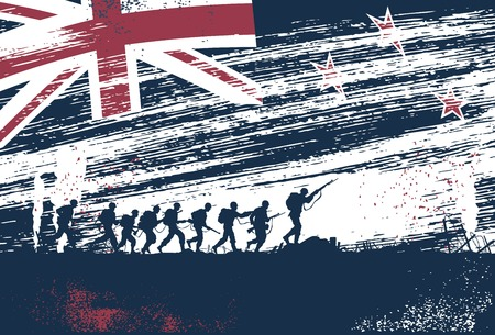 Silhouette of soldiers fighting at war with New Zealand flag as a background Vectores