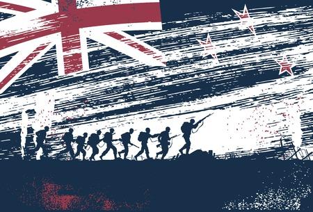 soldado: Silueta de soldados luchando en la guerra con la bandera de Nueva Zelanda como un fondo